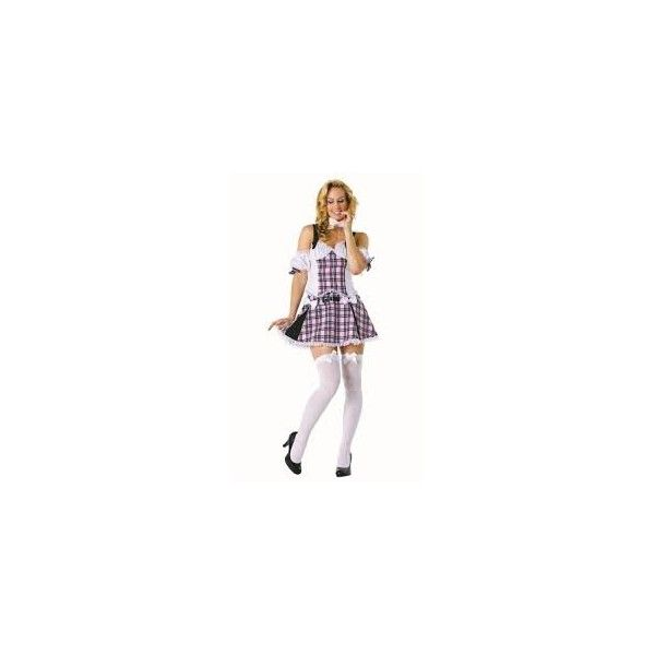 School Girl Costume - This school girl costume is a good choice for all kinds of fancy dress occasions. Costume includes one short colourful dress and tie. Other accessories sold seperately.