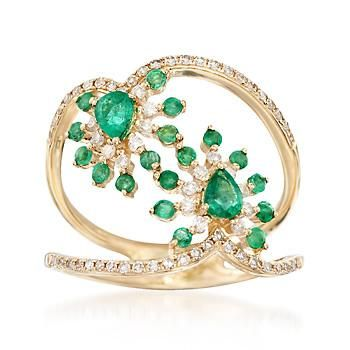 .50 ct. t.w. Emerald and .34 ct. t.w. Diamond Open Ring in 14kt Yellow Gold