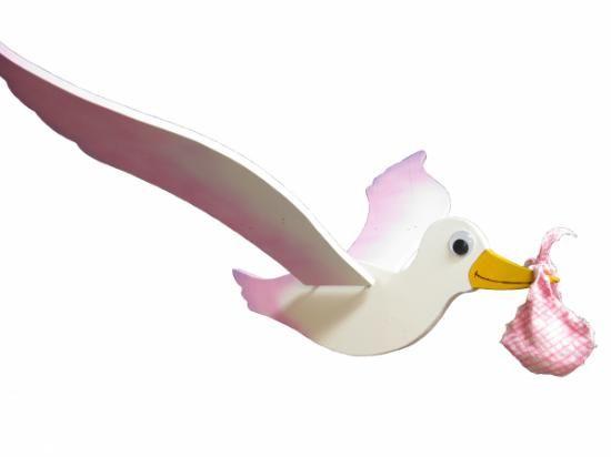 cicogna rosa  da appendere cicogna legno,colori acrilici legno lavorato a mano