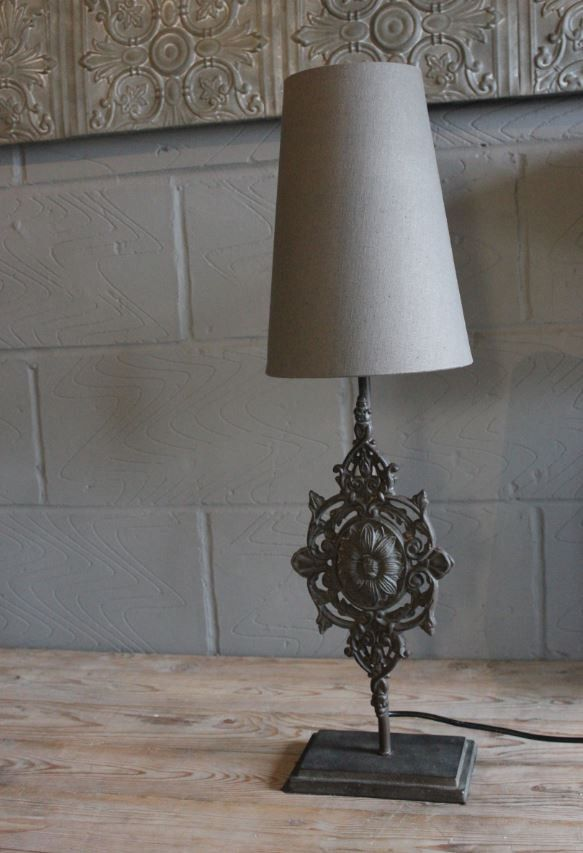 Heavy Iron Motif Table Lamp with Shade
