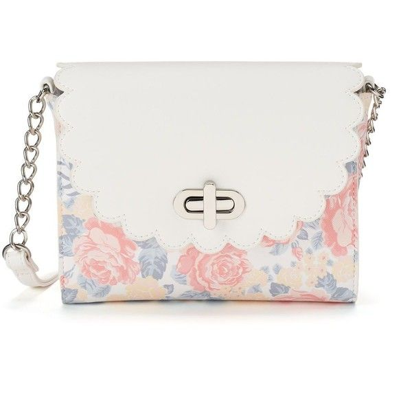 Candie's® Robin Scalloped Crossbody Bag ($20) ❤ liked on Polyvore featuring bags, handbags, shoulder bags, purses, floral, vegan purses, faux leather crossbody, crossbody handbags, purse crossbody and man bag