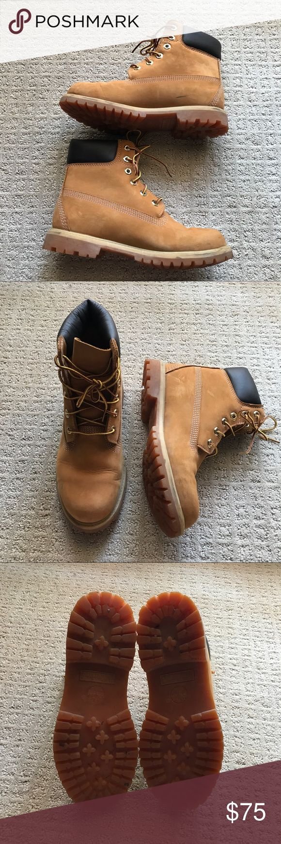 Women's Timberland Boots Very gently used women's Timberlands, 100% authentic, no trades and price is firm. Minor ware, black mark pictured but probably can be washed off. Timberland Shoes Winter & Rain Boots