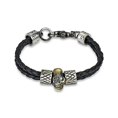 """Braided Black Genuine Leather Bracelet With Steel Skull in Center - 8 Length"""" Crazy2Shop. $7.50. Width: 3/8"""". Features: Braided Double Strings with Steel Skull and Scaled Steel Charm in Center Has Lobster Clasp. Length: 7 1/2"""". Adjustable Size: No. Material: Genuine Leather"""