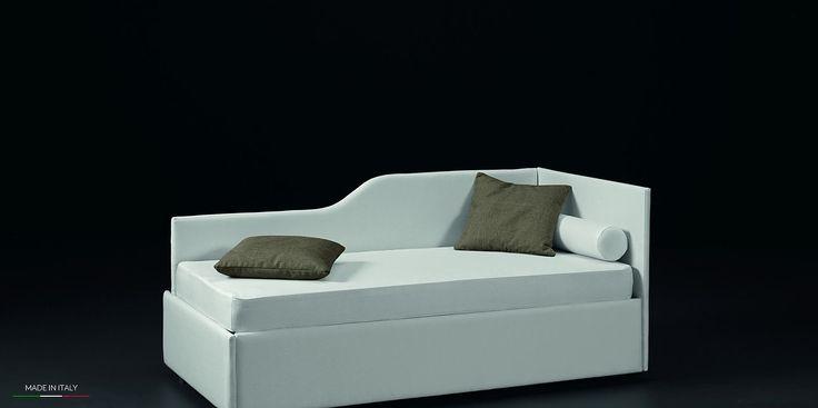 ELLE BOX 1 letto con contenitore o doppio letto estraibile. Collezione Fire ''Exco'' #letto #contenitore #singolo #tessuto #ecopelle