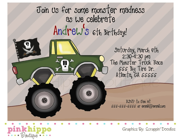 Monster Trucks Birthday Party -DIY PRINTABLE DIGITAL Birthday Invitation