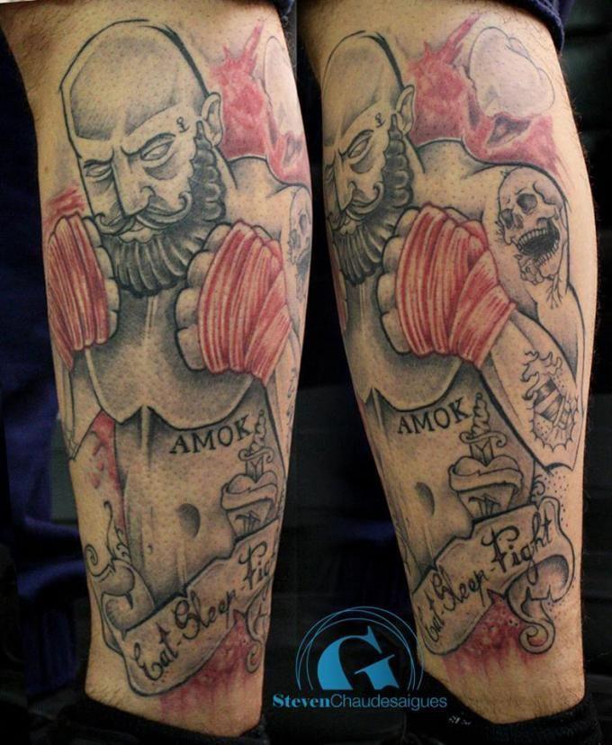Un tatouage de boxeur signé Steven Chaudesaigues, tatoueur à Avignon et à Chaudes-Aigues.