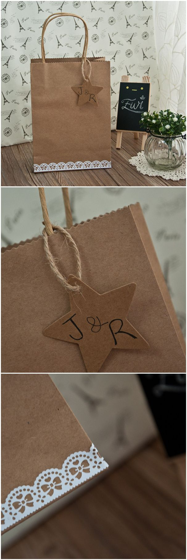 country rustic lace and burlap star wedding favor bags