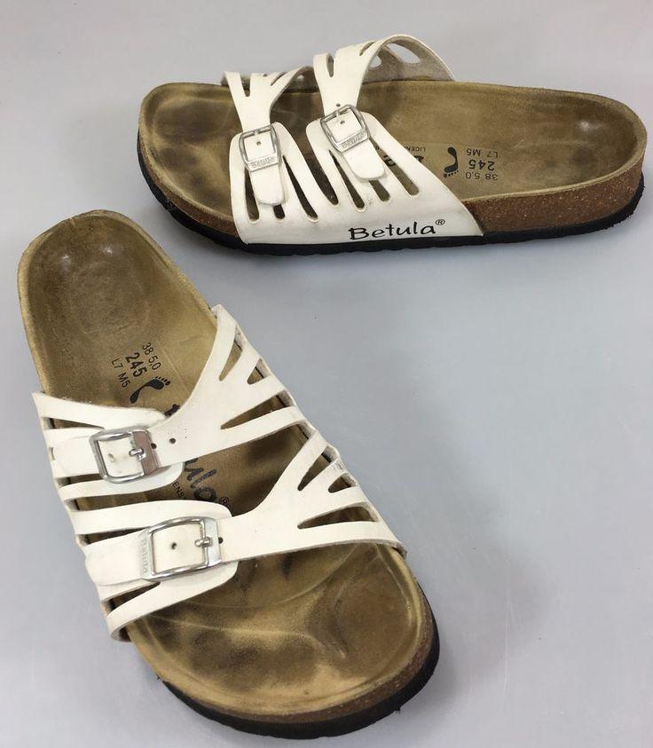 Betula by Birkenstock White Leather Slide Sandals 38.5 N Ladies 7 Men 5 US  #BetulabyBirkenstock #Sandals