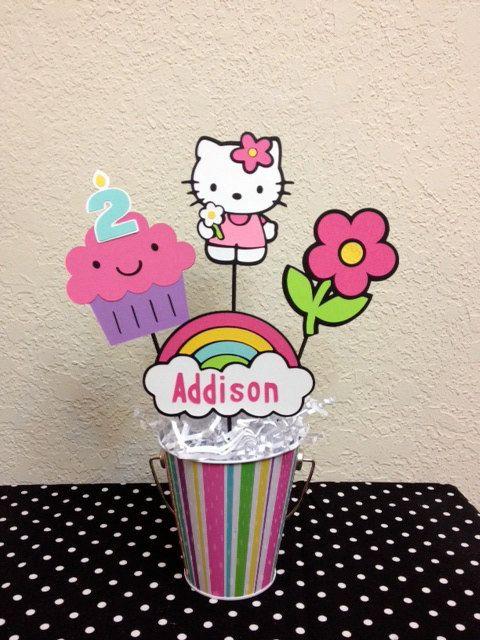 Hello+Kitty+cumpleaños+decoración+centro+de+mesa+por+TheGirlNXTdoor,+$15,50