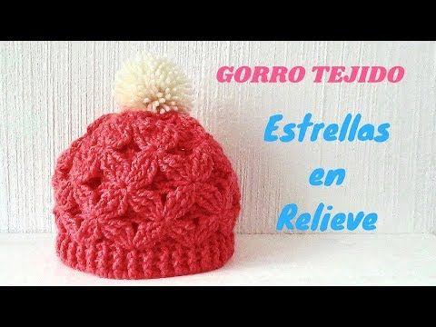 GORRO TEJIDO A CROCHET PASO A PASO EN PUNTO ESTRELLAS EN RELIEVE - TODAS  LAS TALLAS - YouTube 79468d79c63