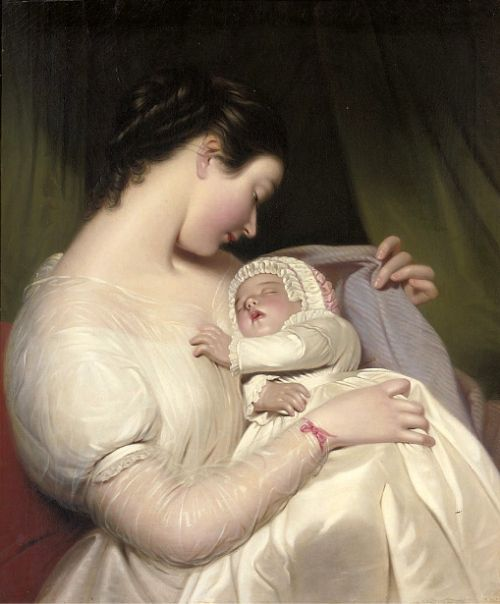 The Artist's Wife, Elizabeth, With Their Daughter, Mary Edith: