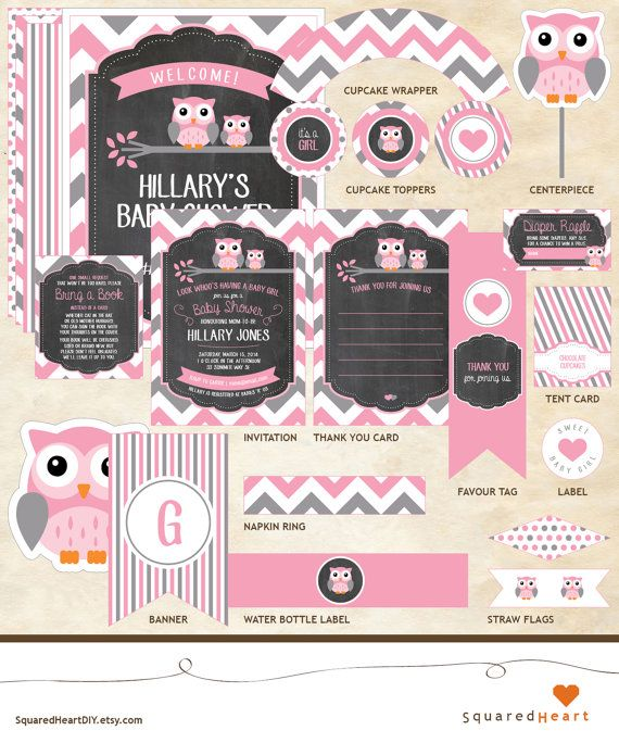 Owl Baby Shower Ideas | Girl, Pink, Gray, Chevron | Owl Printable Baby Shower Package | Invitation, Thank You Card, Diaper Raffle and Bring a Book | SquaredHeartDIY