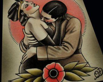 Bleiben Sie wahre traditionelle Tattoo Print von ParlorTattooPrints