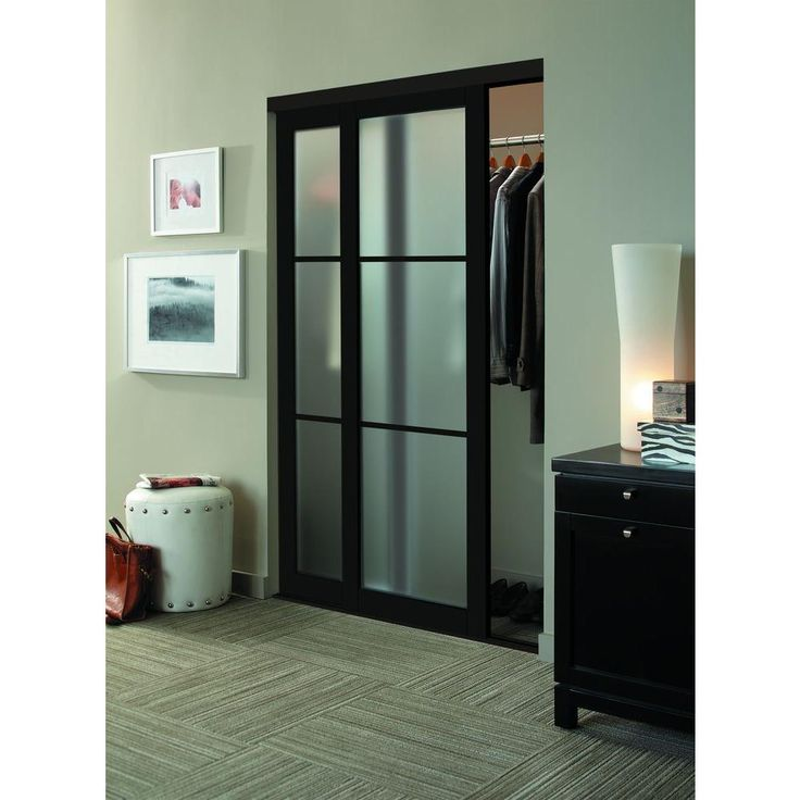 Contractors Wardrobe Eclipse 3-Lite Mystique Glass Bronze Finish Aluminum Interior Sliding Door-EC3-4896BZ2R - The Home Depot
