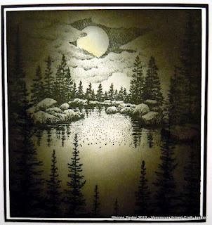 Monochromatic Stampscape scene by Vancouver Island Craft Junkie