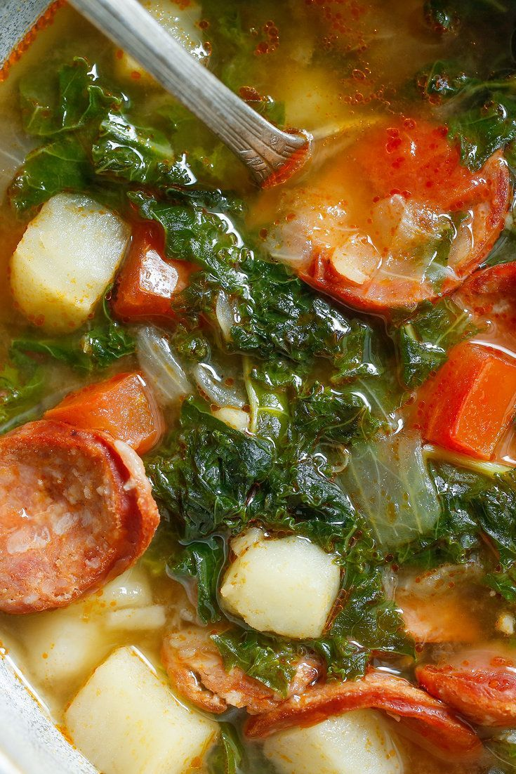 This kale, chorizo and potato soup is hearty and warming. (Photo: Craig Lee for NYT)