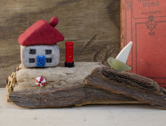 driftwood cottage and harbour scene..reclaimed wood by JunkSoupArt