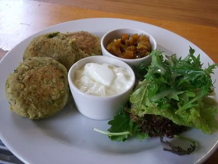 Split Pea, Potato and Coriander Cakes will go down well, served with mesclun, Greek yoghurt and mango chutney. They're vegetarian and wheat and gluten free | Morrison Street Cafe