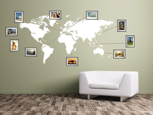 Ideen für Fotos - Wandtattoo Weltkarte mit eigenen Bilderrahmen