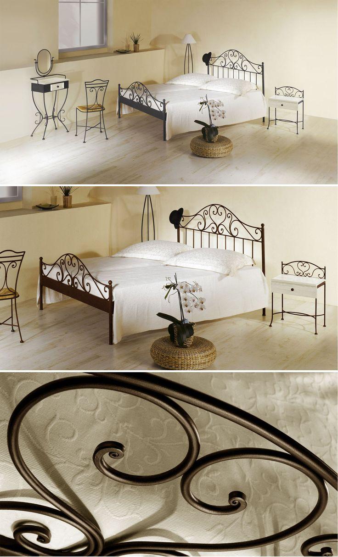 Spanisches Metallbett in verschiedenen Farben erhältlich. Verspieltes Design fürs Schlafzimmer. | Betten.de #metallbett #bett #mediterran #ornamente #filigran http://www.betten.de/spanisches-metallbett-140x200-braun-loria.html