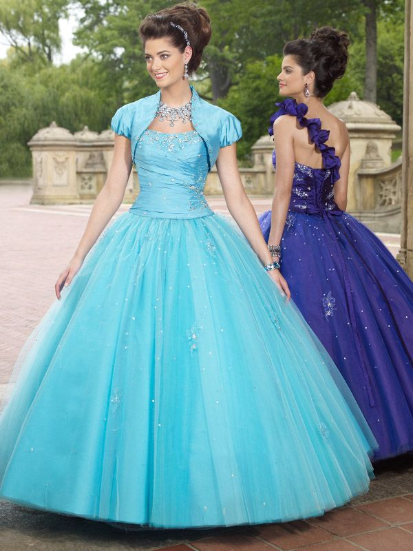 Ball Gown One Shoulder Tulle Floor-length Sleeveless Crystal Detailing Quinceanera Dresses at pickedlooks.com