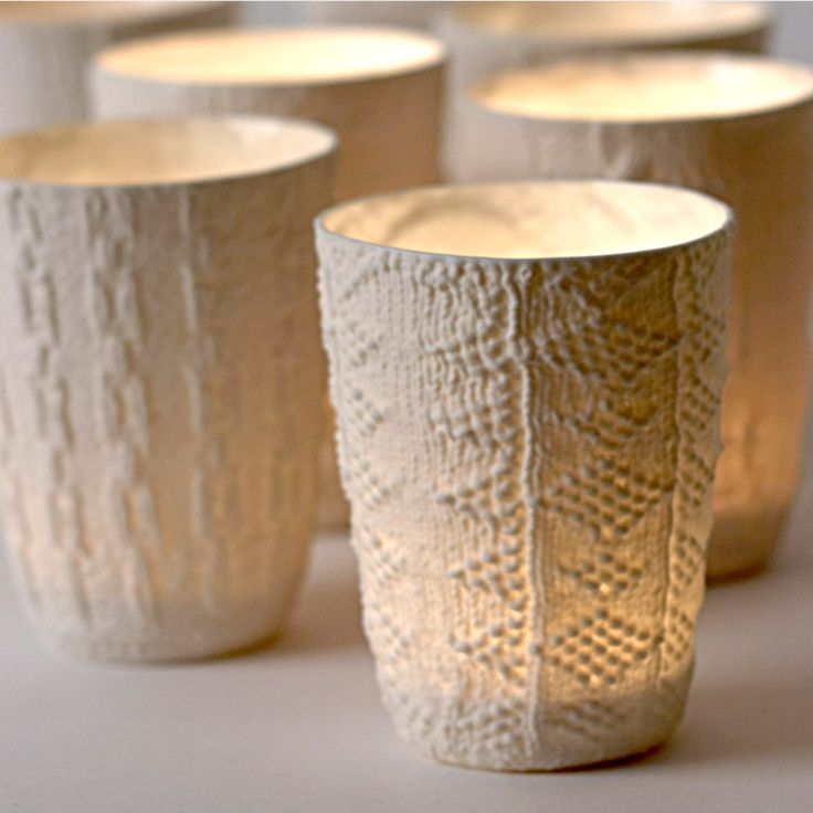 porcelain cups handmade by Annette Bugansky with lovely knit-sweater-like textured surface   £30.00 each: Christmas Crafts, Annette Buganski, Buganski Cupslit, Knits Ceramics, Christmas Tables, Candles Holders, Buganski Cups Lit, Winter Christmas, Great Ideas