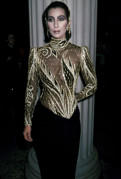 Cher in Bob Mackie at the Met Costume Ball in New York circa 1984