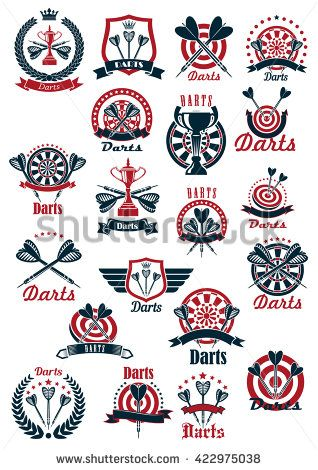 Dartboards with darts missiles and winner cups symbols for darts club or…
