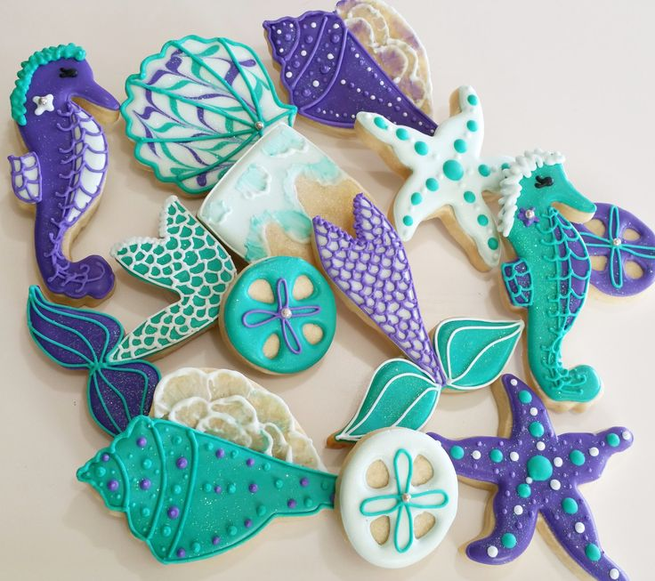 Sea shell cookies, mermaid cookies,mermaid party, sandollar,starfish cookie,under the sea,mermaid fin, sugar cookie, girls party,party favor by KessaCakes on Etsy