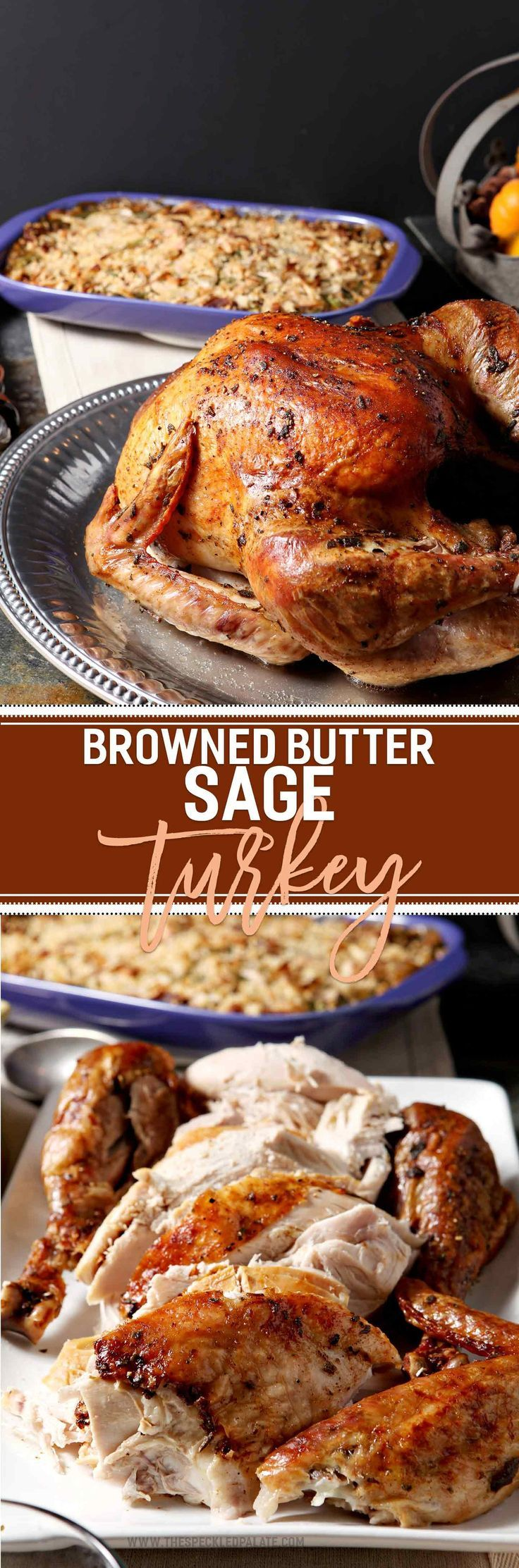 Prepare a showstopping entree for the holidays this year! Browned Butter Sage Turkey is a decadent twist on the classic roasted turkey. Brown butter in a pan with fresh sage, then slather a Honeysuckle White Fresh Whole Turkey with the sage browned butter. Bake until golden brown, and serve warm with homemade gravy and traditional sides! This turkey makes a flavorful entree for Thanksgiving or ANY holiday celebration!