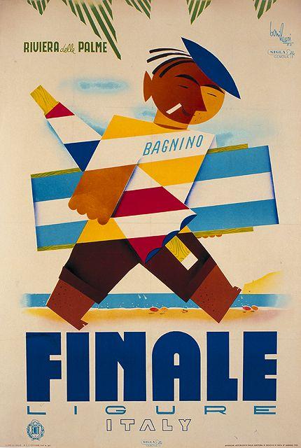 1953 Finale Ligure Lifeguard, Liguria, Italy vintage travel poster