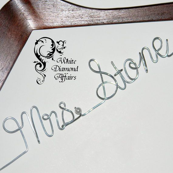 1 diy personalized wedding hanger wire custom wedding for Personalized wire wedding dress hanger