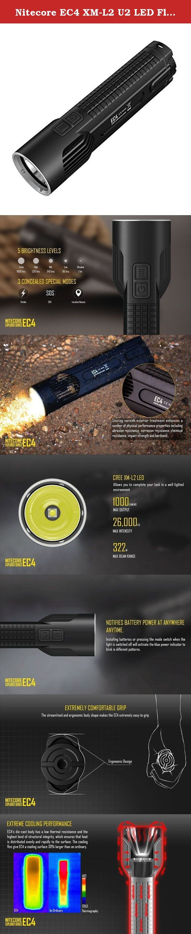 Nitecore EC4 XM-L2 U2 LED Flashlight, 1000 lm. EC4, being the first die-cast offering in the industry, aims to revolutionize the making of a flashlight. Die casting is a casting method by injecting molten aluminum under high pressure into mold cavity, which involves no separate parts welded or fastened together. This means the EC4 has the highest level of structural integrity. With the head and the tube being an integral whole, EC4 consists of two parts: the body and the rear lock, a…