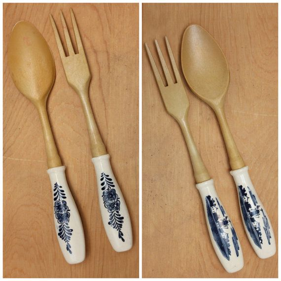 Delft Blue Salad Tongs with Windmill and by GatherAndDisperse, $10.00