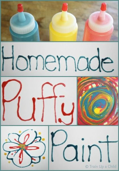 Homemade Puffy Paint with 3 Simple Ingredients - Easy to make, fun to use, and wipes clean from counters, tables, and work surfaces.