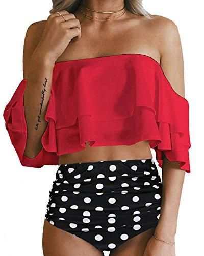 73a7f09d11a Other sellers are fake so be careful when purchasing. - Both white and red  styles with ruched double flounce crop ...