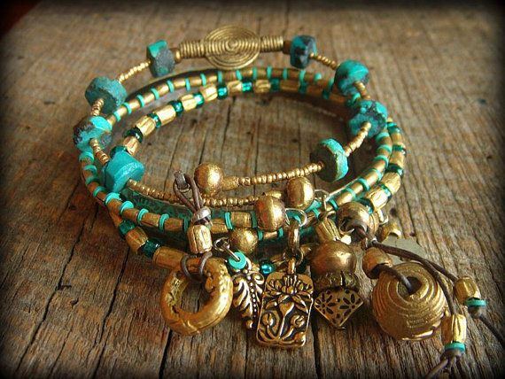 AFRICAN CHUNKY BEADED BRACELETS | African Brass Beaded Bangle Bracelet Set by yuccabloom on Etsy