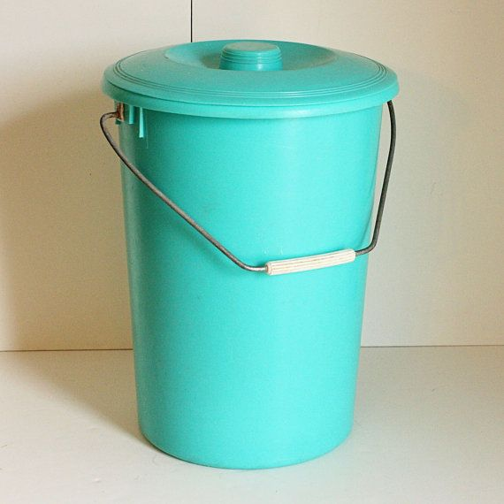 Plastic diaper pail! Where the wet and dirty diapers, rubber pants, and baby washcloths went until diaper-wash day!