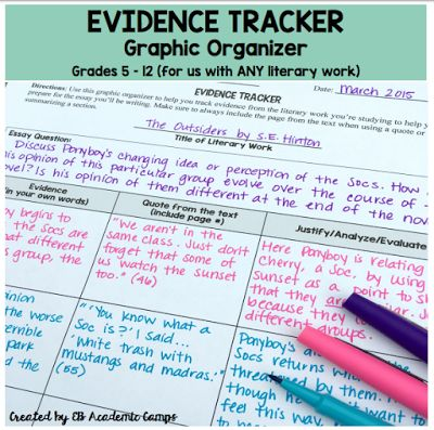 Middle School Mob: Evidence Tracker for Reading Comprehension & Argumentative Writing