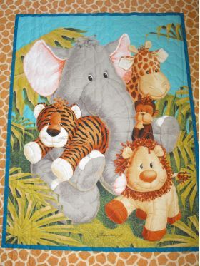 Jungle Babies cot quilt. quilted cot blanket