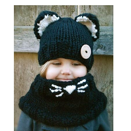 Black cat ear knit hat and scarf set for kids winter wear