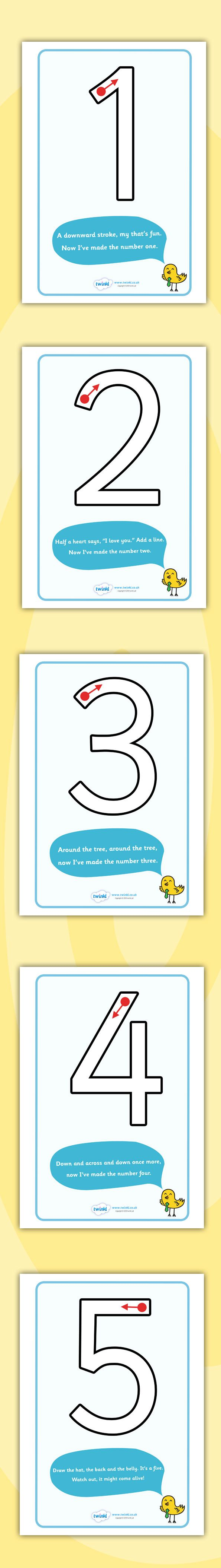 Twinkl Resources >> Number Formation Rhyme Display Posters >> Printable resources for Primary, EYFS, KS1 and SEN. Thousands of classroom displays and teaching aids! Numeracy, Maths, Number Formation, Posters
