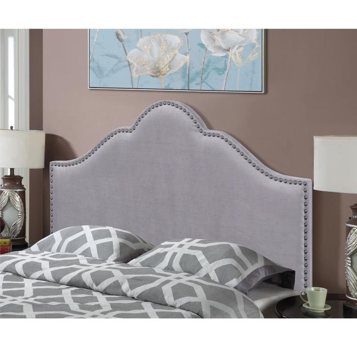 American Woodcrafters Anna Smoke Full/Queen Arched Upholstered Headboard