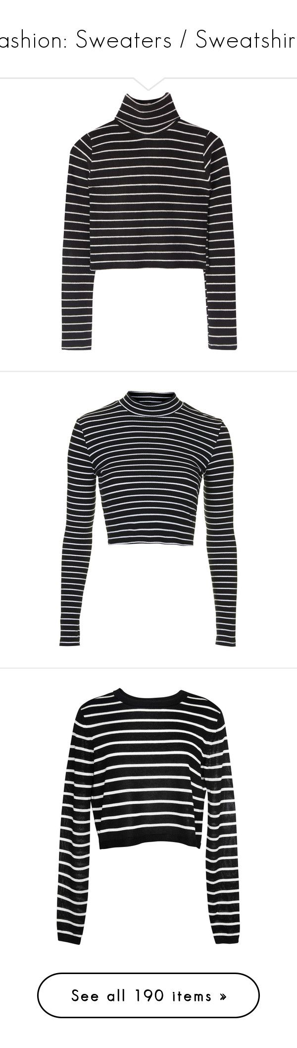 """Fashion: Sweaters / Sweatshirts"" by katiasitems on Polyvore featuring tops, shirts, sweaters, crop top, long sleeve tops, fold long sleeve shirt, long-sleeve shirt, folding shirts, striped crop top and crop tops"