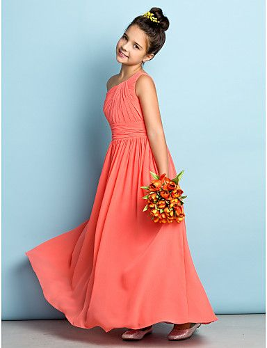 Ankle-length Chiffon Junior Bridesmaid Dress - Mini Me A-line One Shoulder with Side Draping 2016 - $69.99