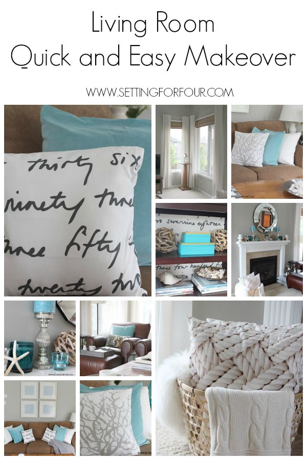 See this Quick and Easy Living Room Makeover with beautiful new fabrics and decor updates! www.settingforfour.com