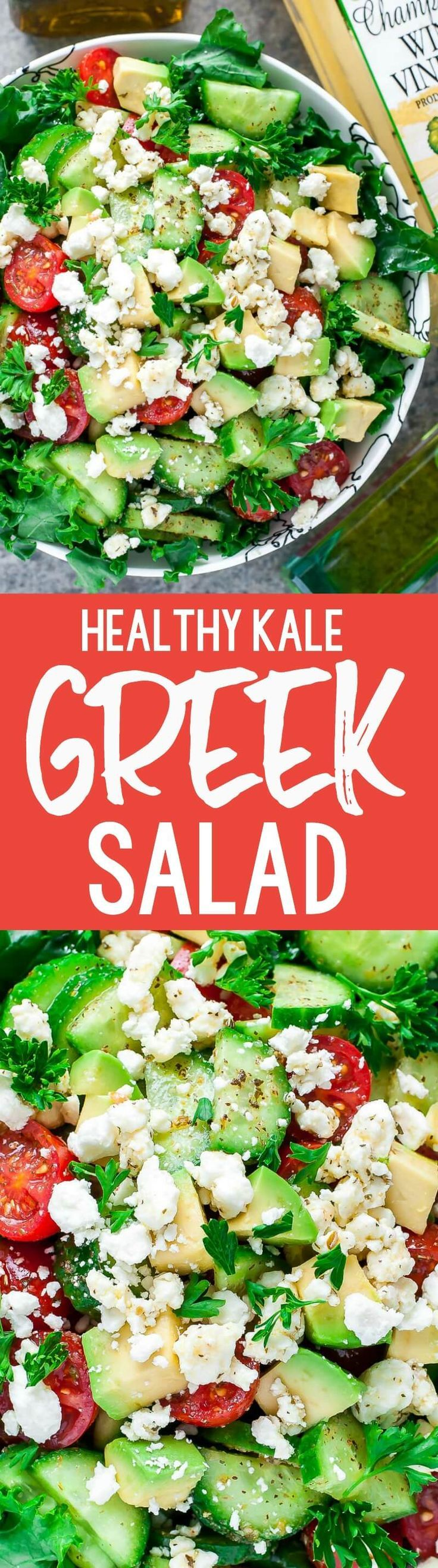 KALE YEAH! Chopped Greek Kale Salad with a healthy homemade Greek dressing you'll want to put on everything! #healthy #kale #salad