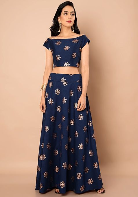 00b864cc9 Navy Foil Boat Neck Silk Crop Top #Navy #Fashion #FabAlley #BoatNeck  #NavyFoil #CropTop #Indya #TraditionalDress #IndoWestern #Trending
