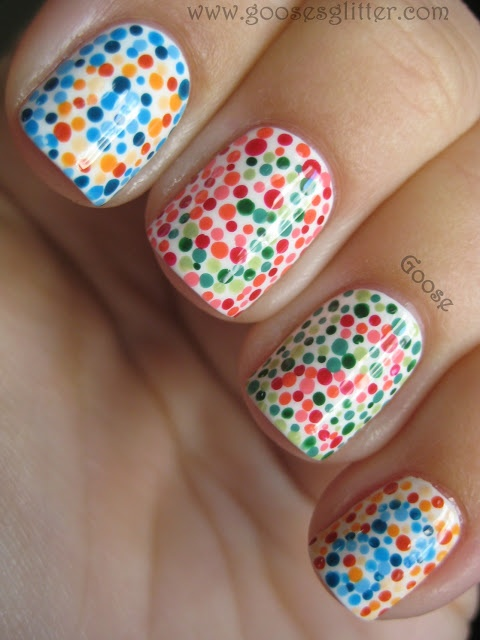 What a witty manicure---color blind test. - reminds me of psych