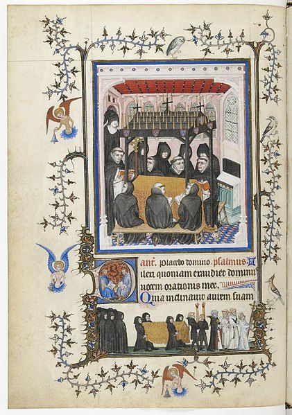 The Très Belles Heures de Notre-Dame is a former book made for John, duke of Berry (1340-1416) between 1389 and 1409, and now divided into three books : the book of hours in the Bibliothèque nationale de France (NAL 3093), the missal now in Turin (Museo Civico d'Arte, ms inv n°47), and a prayer book formerly in Turin and now destroyed (Turin Biblioteca Nazionale, K.IV.29).funérailles à l'église - NAL3093, f.58v ou 103v